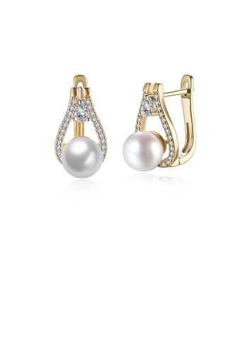 Glamorousky white Elegant Plated Champagne Gold Water Drop Earrings with Austrian Element Crystals and Fashion Pearls F65B9AC0D90430GS_1
