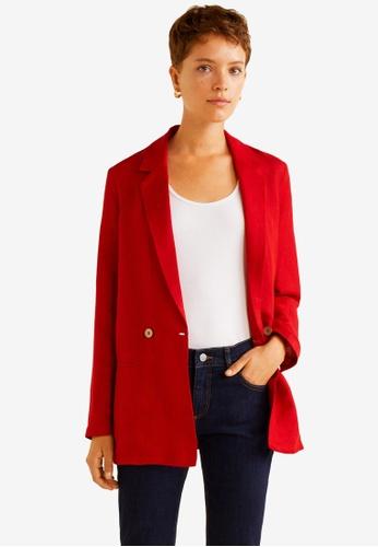 Mango red Linen Blazer Suit 4EC9BAAC9C5CF0GS_1