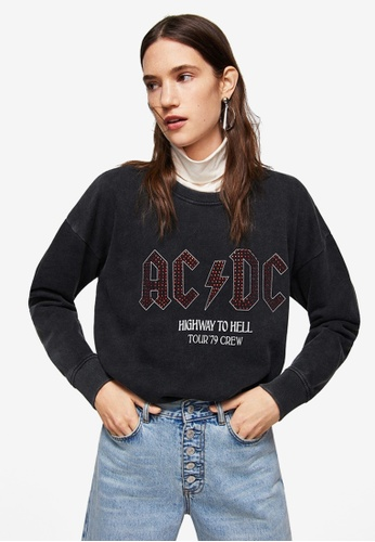 Mango black AC/DC Sweatshirt 111FCAA7E8C8DFGS_1
