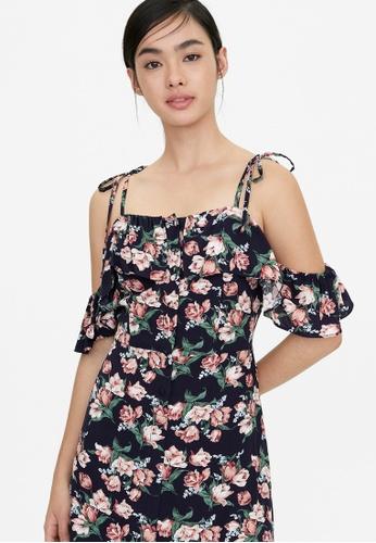 Pomelo blue Rose Print Cold Shoulder Dress - Navy 1D467AABD06655GS_1