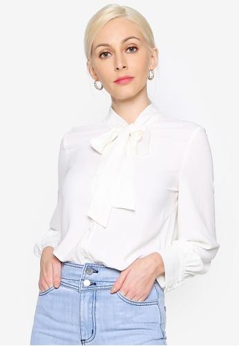 Hopeshow white Collar Ribbon Chiffon Button Blouse F3FDDAA4F052E9GS_1