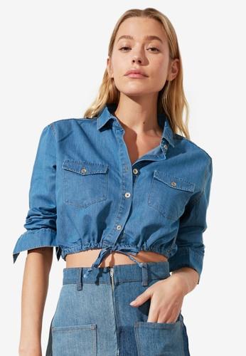 Trendyol blue Corded Waist Cropped Denim Shirt E1906AA31121E9GS_1