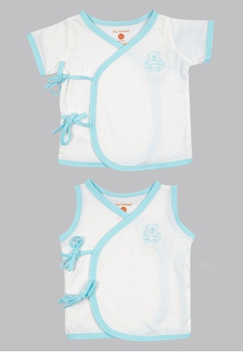 Tiny Tummies white Tiny Tummies Tie Side Sleeveless & Tie Side With Sleeves - Boy E1C09KABF8A14EGS_1