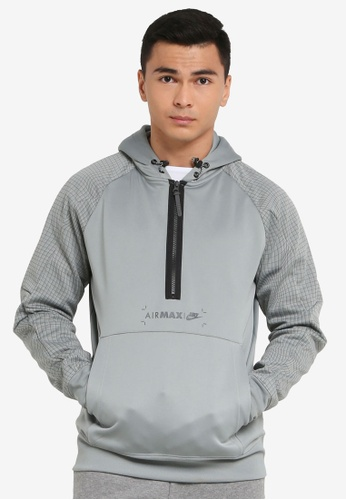 Nike grey Air Max Fleece Half-Zip Hoodie 2DD2EAAC88C497GS_1
