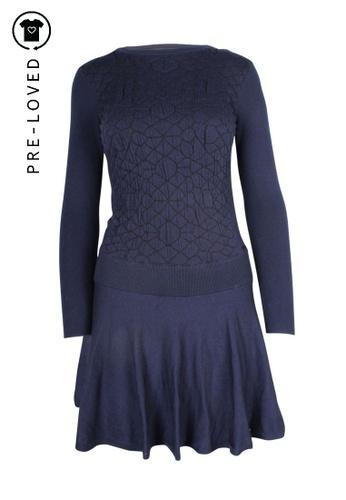 Dkny Jeans blue dkny jeans Blue Knit Long Sleeves Flared Dress 57056AA3269552GS_1