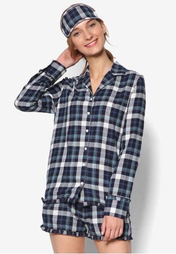 格紋長袖襯衫短褲睡衣組合, esprit暢貨中心服飾, 服飾