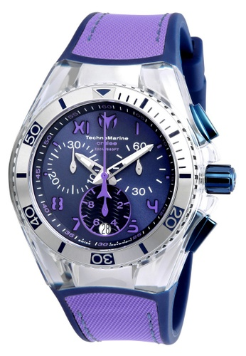 TECHNOMARINE blue and purple Technomarine Cruise Unisex 40.57mm Case Blue, Purple Silicone, Canvas Strap Blue, Purple Dial Quartz Watch TM-115021 TE359AC0F5BHSG_1