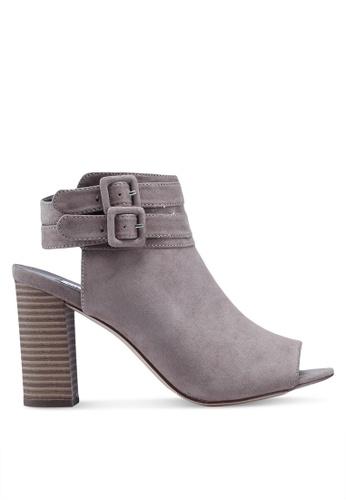 Steve Madden 灰色 Banquet Peep Toe Ankle Strap Block Heels A7C4ASH68FB30DGS_1