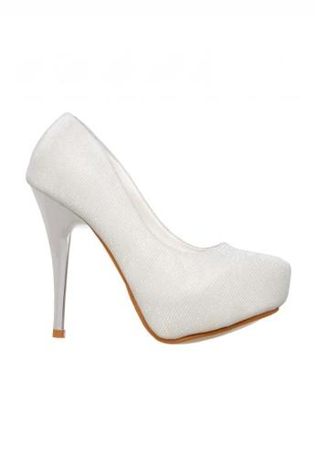 Celsius white Celsius - Glitter Pump Heels (White) F86ACSH4694E35GS_1