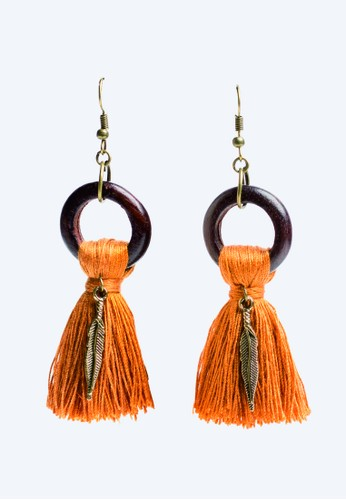 JOGLO AYU TENAN brown JOGLO AYU TENAN Brown Tassel Wooden Ring Earrings 3A450AC737C03EGS_1