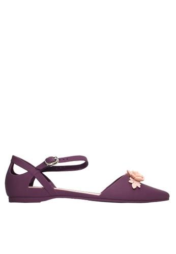 Twenty Eight Shoes 紫色 立體花中空果凍膠平底鞋 VR5132 38689SH729EA04GS_1