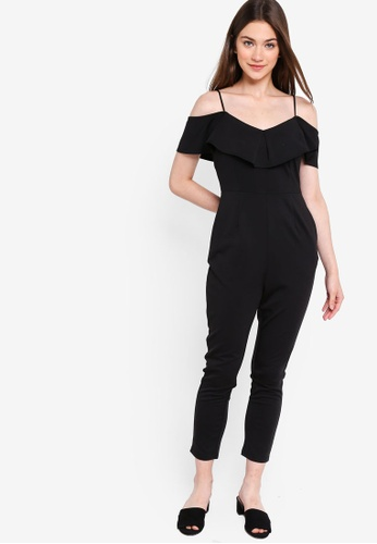 Something Borrowed black Cold Shoulder Jumpsuit With Ruffles 9831DAA4FDA8E2GS_1