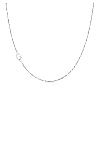 Moody Mood silver .925 Sterling Silver Sideway Letter G Necklace (18k white gold plating) 96DADAC5F98329GS_1