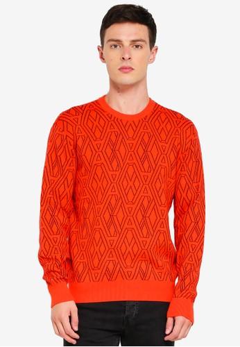 Armani Exchange orange Geometric Logo Pullover F66BDAA746D6D5GS_1