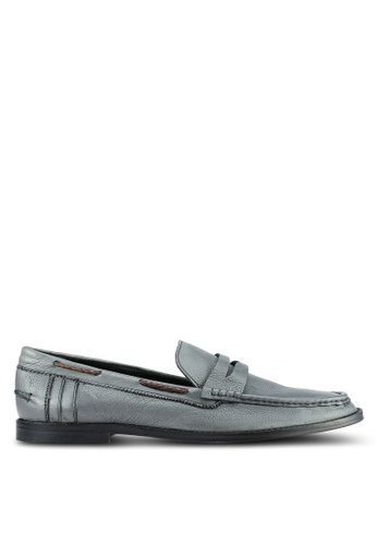 ZALORA grey Soft Cowhide Leather Loafers E9C95SH15F13C6GS_1