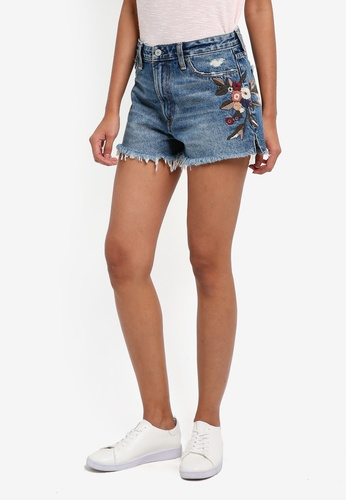 Abercrombie & Fitch blue Medium Embroided Annie Rigid Shorts 16BEFAA0DFA07FGS_1
