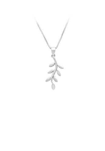 Glamorousky silver 925 Sterling Silver Leaf Pendant with Necklace 46C43AC509A52EGS_1
