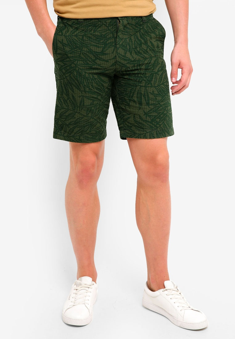J In Inch Palm Shorts 9 Print Seersucker Forest Crew CwSqxdYUt