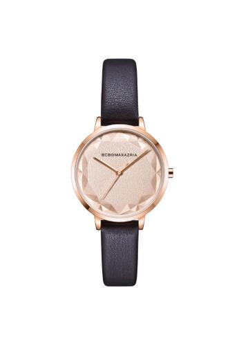 BCBG black BCBGMAXAZRIA BG51136005 Rose Gold and Black Leather Watch 68D78AC544BF34GS_1