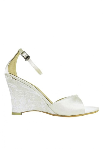 Jacque white White Wedge with Side Lace JA262SH98FZDMY_1