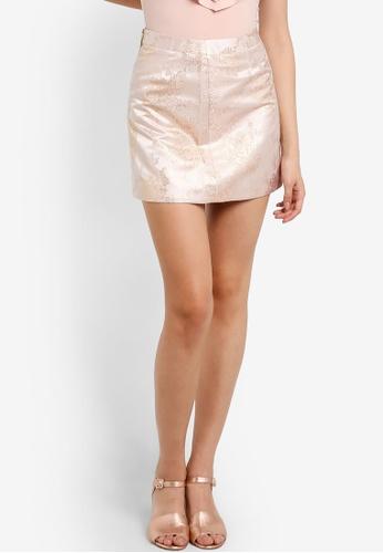 Miss Selfridge pink Petite Jacquard Skirt MI665AA18HNPMY_1