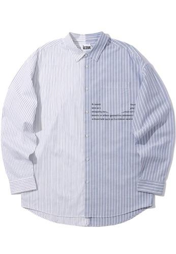 izzue blue Two-tone slogan shirt DFBB7AA15245F9GS_1