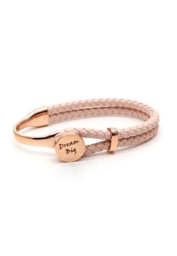 TIAS pink and gold Tias Dream Big Rose Cream Leather Bracelet A869FAC619CEA4GS_1