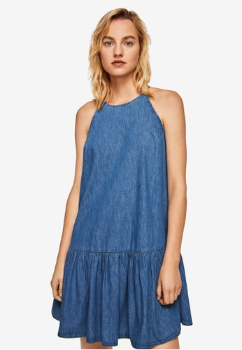Mango blue Frills Denim Dress 1EE9BAA6EA35CFGS_1