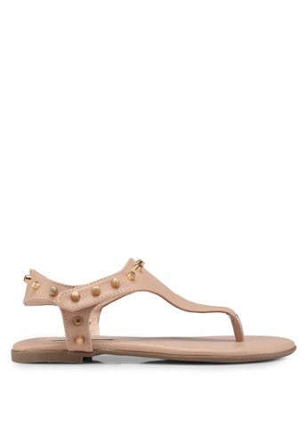Nose 米褐色 鉚釘夾腳涼鞋 6859CSH78B87F7GS_1
