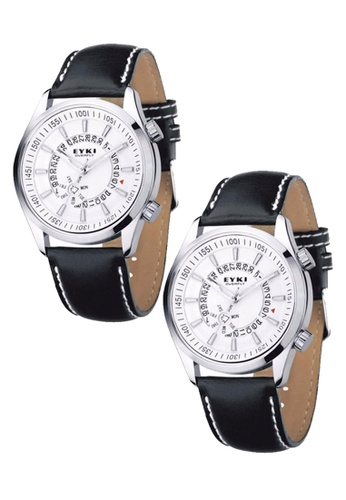 Eyki white and silver Bundle 2 Units  Eyki Overfly Leather Watch Silver White W8453G-1 EY078AC0RR7WMY_1