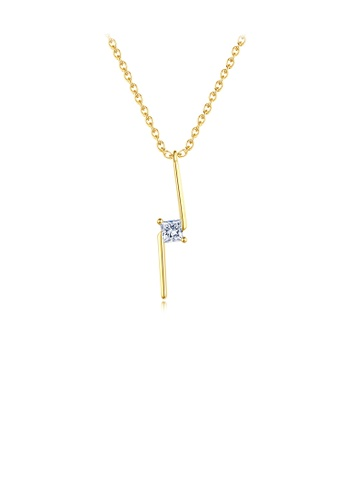 Glamorousky white 925 Sterling Silver Plated Gold Simple Temperament Geometric Strip Cubic Zirconia Pendant with Necklace 9E7A2ACAD2D2CCGS_1