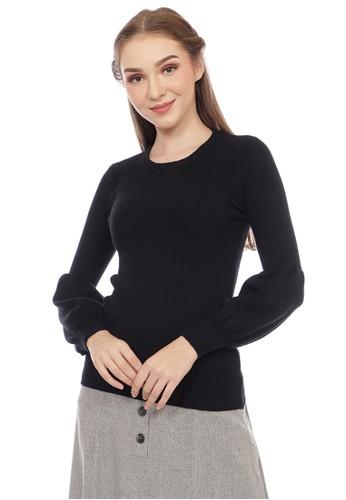 SIMPLICITY black Flat Knit Blouse 3B077AA6899883GS_1