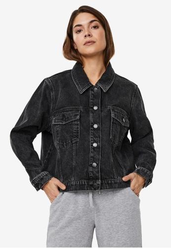 Vero Moda black Mikky Short Denim Jacket Mix Curve 60ED5AA4CB6782GS_1