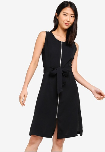 ZALORA BASICS black Basic Zip-Up Dress With Waist Tie C0DF4AAF16656AGS_1