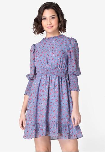 FabAlley blue Floral Puff Sleeve Skater Dress F79CDAA1132039GS_1