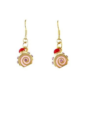 Glamorousky pink Glistering Roll Cake Earrings with Pink CZ 4867FAC0152096GS_1