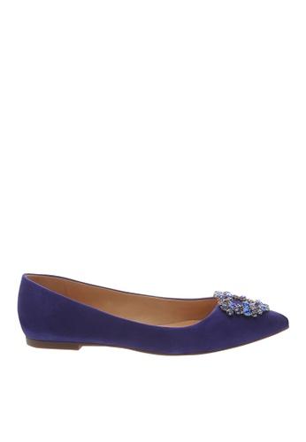 SCHUTZ 皇家藍磨砂皮平底鞋 - CAROLINA [ROYAL BLUE] BED27SH850C024GS_1