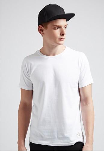 簡約中磅。純棉320克。美式圓領T-MITesprit hk outlet-03633-白色, 服飾, 素色T恤