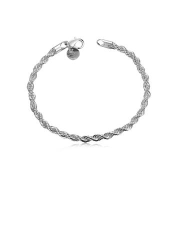 Glamorousky silver Fashion Simple Geometric Twisted Rope Bracelet 57E22AC70B9CF8GS_1
