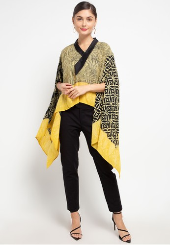 Batik First black and yellow Blouse Lowo Crop Dasi Slv-Shawl 84011AA20AB258GS_1