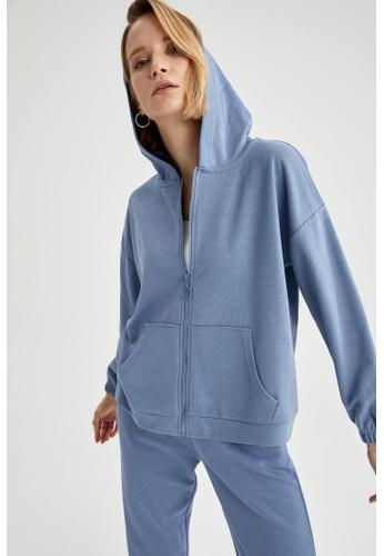 DeFacto blue Long Sleeve Full-Zip Hoodie 6D446AA23BA69DGS_1