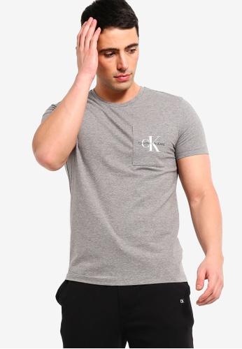 Calvin Klein 灰色 修身短袖T恤 C9A28AAE44285AGS_1