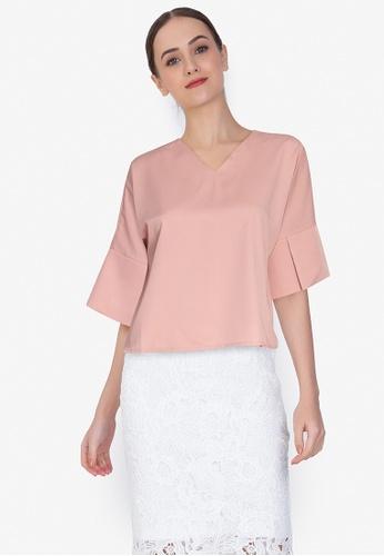 ZALORA WORK pink Kick-Front Drape Top 641C1AA89024C8GS_1