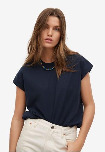 Mango 藍色 再生棉 T-襯衫 2C6BCAA6982D52GS_1