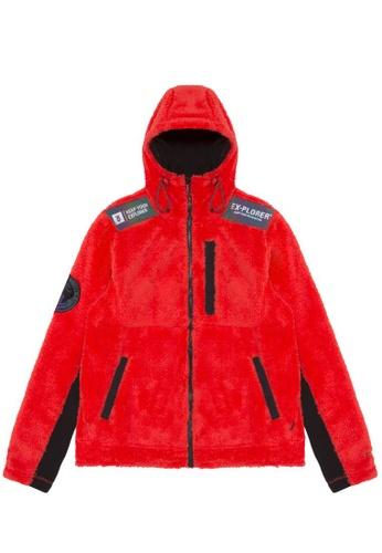 Fingercroxx orange Faux fur emblem jacket 9EF61AAB0E9DA9GS_1