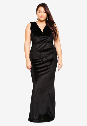 MISSGUIDED 黑色 大尺碼絲絨V領長洋裝 F68F7AAA4D6525GS_1