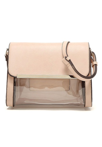 LULUGIFT beige Korean Imported Double Pocket PU Leather Sling Bag LU989AC54ZPXMY_1