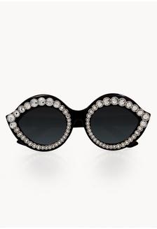 181823eb98aa Cat Eye Embellished Sunglasses - Black 2CD7DGL2709B32GS 1