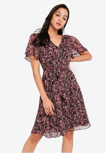 FORCAST multi Summer Floral Tie Waist Dress 4B45DAABC559BBGS_1