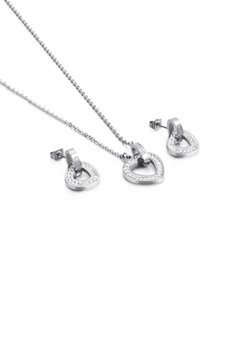 Glamorousky white Fashion Simple Plated Gold Hollow Heart Shaped 316L Stainless Steel Necklace and Earring Set with Cubic Zirconia CC7E1AC958B0B9GS_1